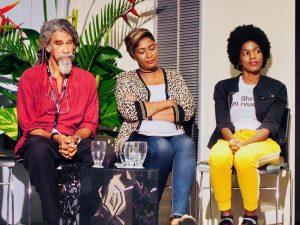 Kendel Hippolyte, Celeste Mohammed and Alexandra Stewart at Bocas 2019